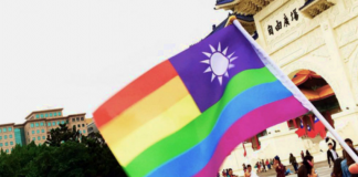 LGBTI athletes waved Taiwan's flag at the Gay Games opening ceremony in Paris